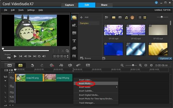 会声会影x7-如何制作视频转场特效图文教程 会声会影x7丰富的转场特效可满足用户制作特效视频的基本要求!下载会声会影x7后,如何制作视频转场特效呢? 下面我们以在两张图片素材间插入转场效果为例。 首先,在多媒体视图-视频轨上点击Insert Photo选项,在会声会影x7视频轨上插入两张素材图片;