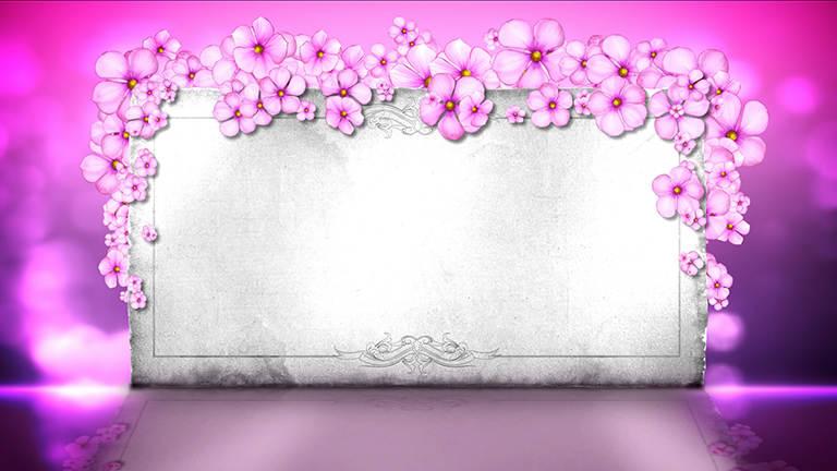 浪漫粉色小花装饰下的婚礼布景背板led背景视频素材